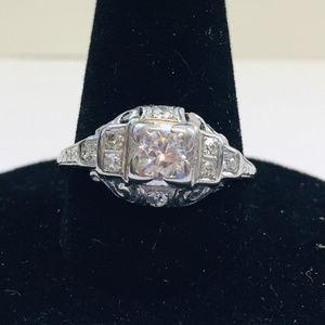 Art Deco white gold diamond ring / 6-1/4.